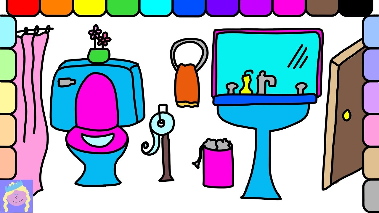 Learn How To Draw And Color A Bathroom With This Easy Drawing And ...