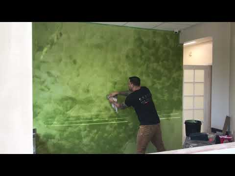 Venetian plaster infamous hulk green color by Exotic wall finishes