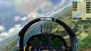 Aerofly FS simulator: F-18 Swiss Air Force High Speed Flight over Swiss Scenery