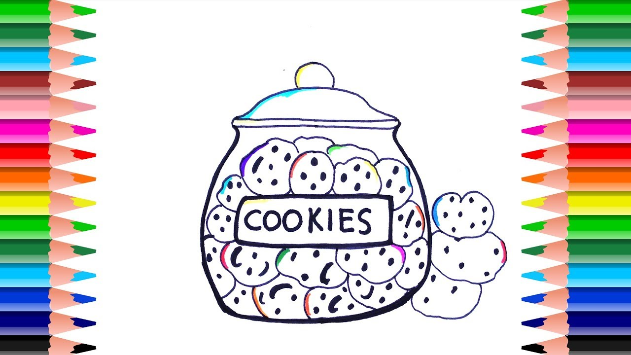 How to Draw Coloring Book Cookies and Cookie Jar | Drawing colors ...