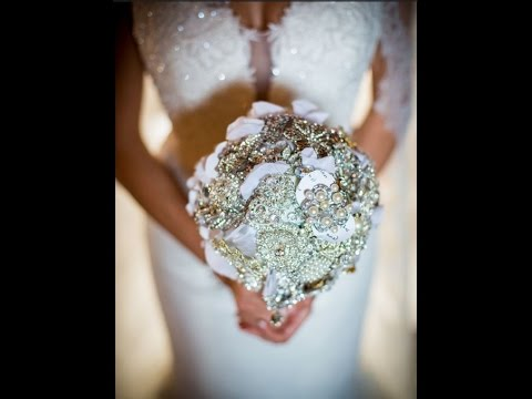 How We Made My Bridal Bouquet With Brooches