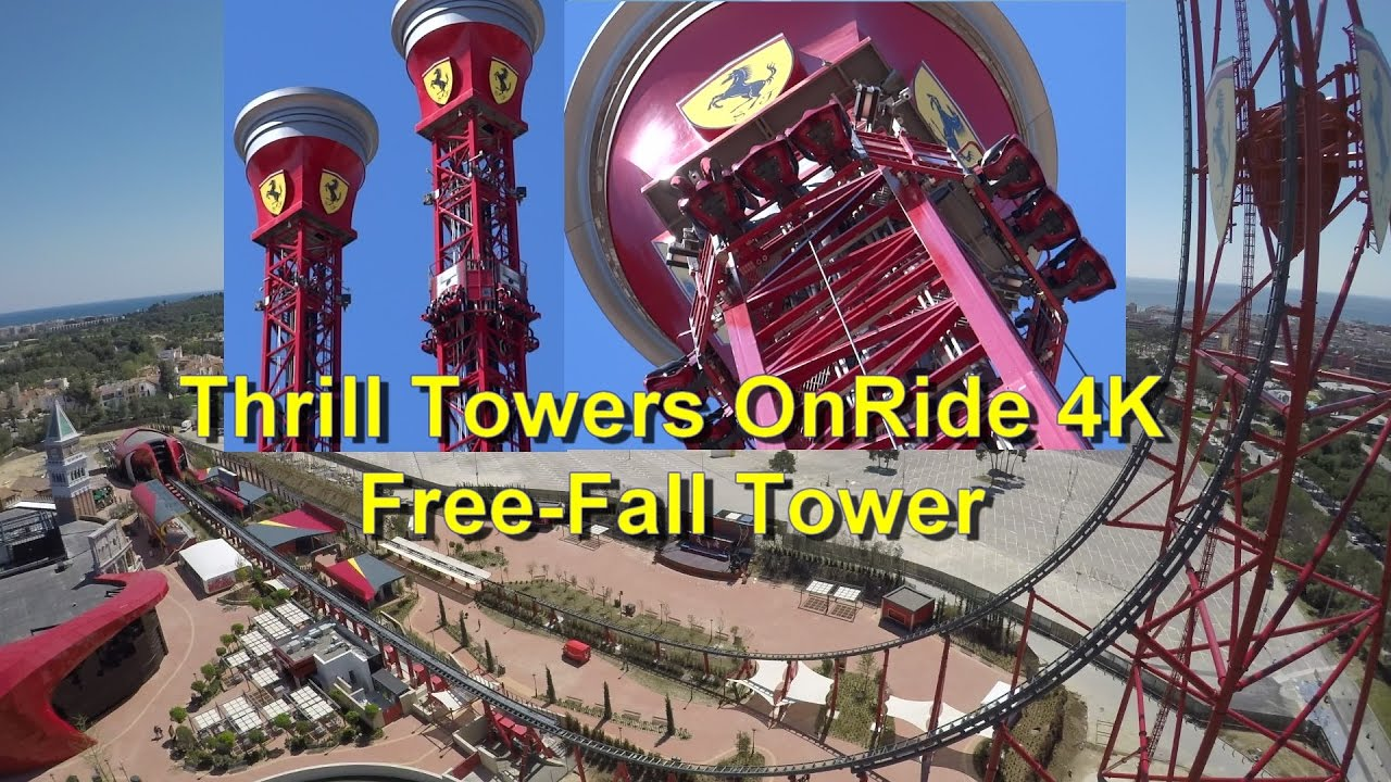 ferrari land free-fall drop tower onride 4k - thrill towers onride