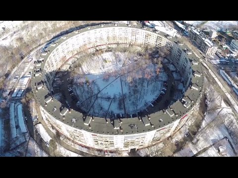 Drone buzzes soviet 70s architecture legend in Moscow