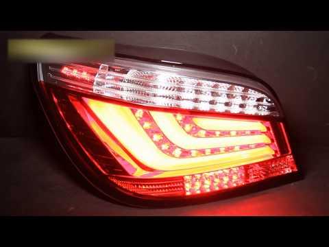 Задние тюнинг фонари BMW E60 03-07, светодиодные, в стиле BMW F10, прозрачные красные