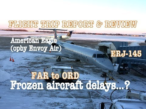#55: AMERICAN EAGLE | Frozen Aircraft | 5 HOURS LATE! | FLIGHT TRIP REPORT | Fargo to Chicago