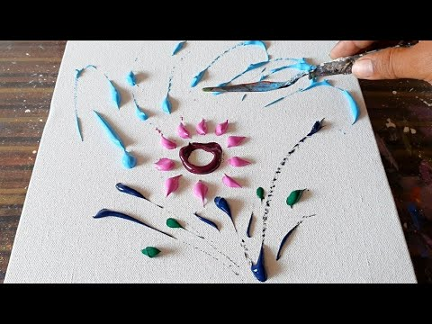 Flowers / Simple Abstract Painting Demo / Acrylics & Palette knife / Daily Art Therapy / Day #0194