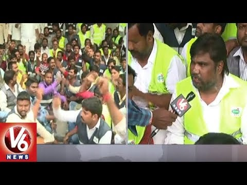 Sanitation Field Assistants Protest At GHMC Office, Demands Salary Hike And Health Cards | V6 News