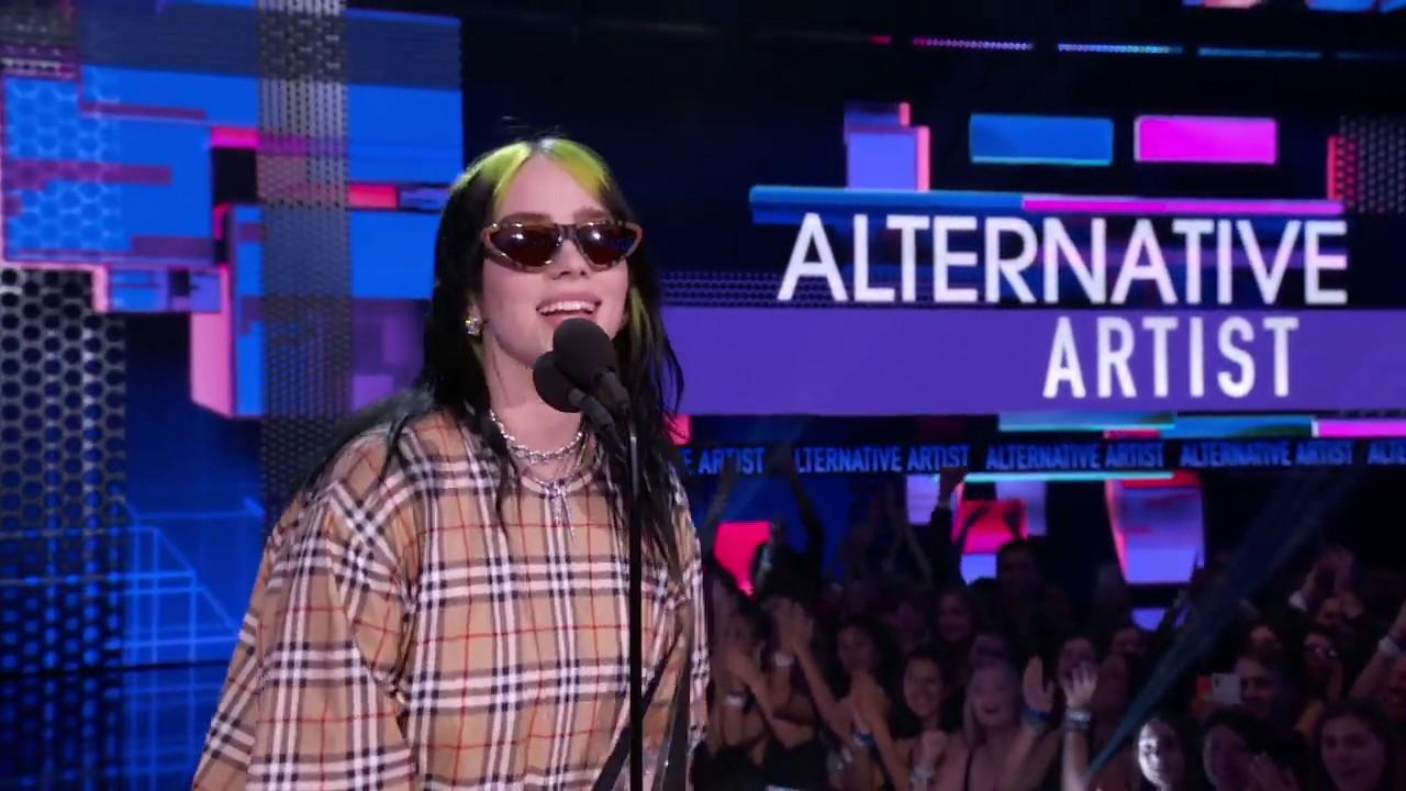 Billie Eilish Wins Favorite Artist Alternative Rock I AMAs 2019