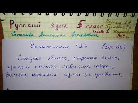 Упр 123 стр 69 Русский язык 5 класс 1 часть Мурина 2019 гдз словосочетания