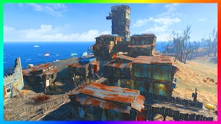 FALLOUT 4 BASE BUILDING GAMEPLAY - Giant Island Tower Structure - Building On A GIANT ISLAND FO4