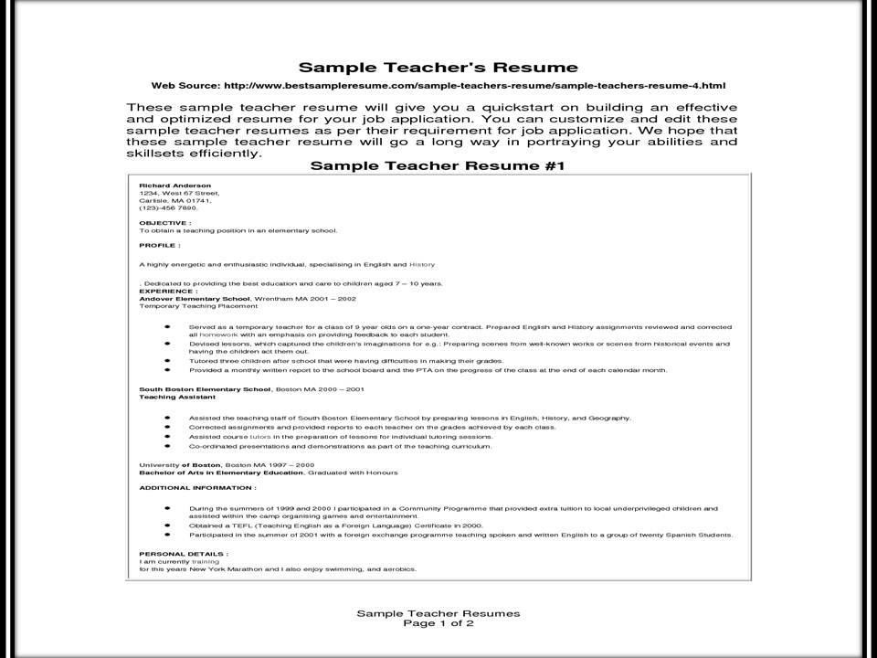 Resume Format For Experienced Teachers  Format For Teacher Resume