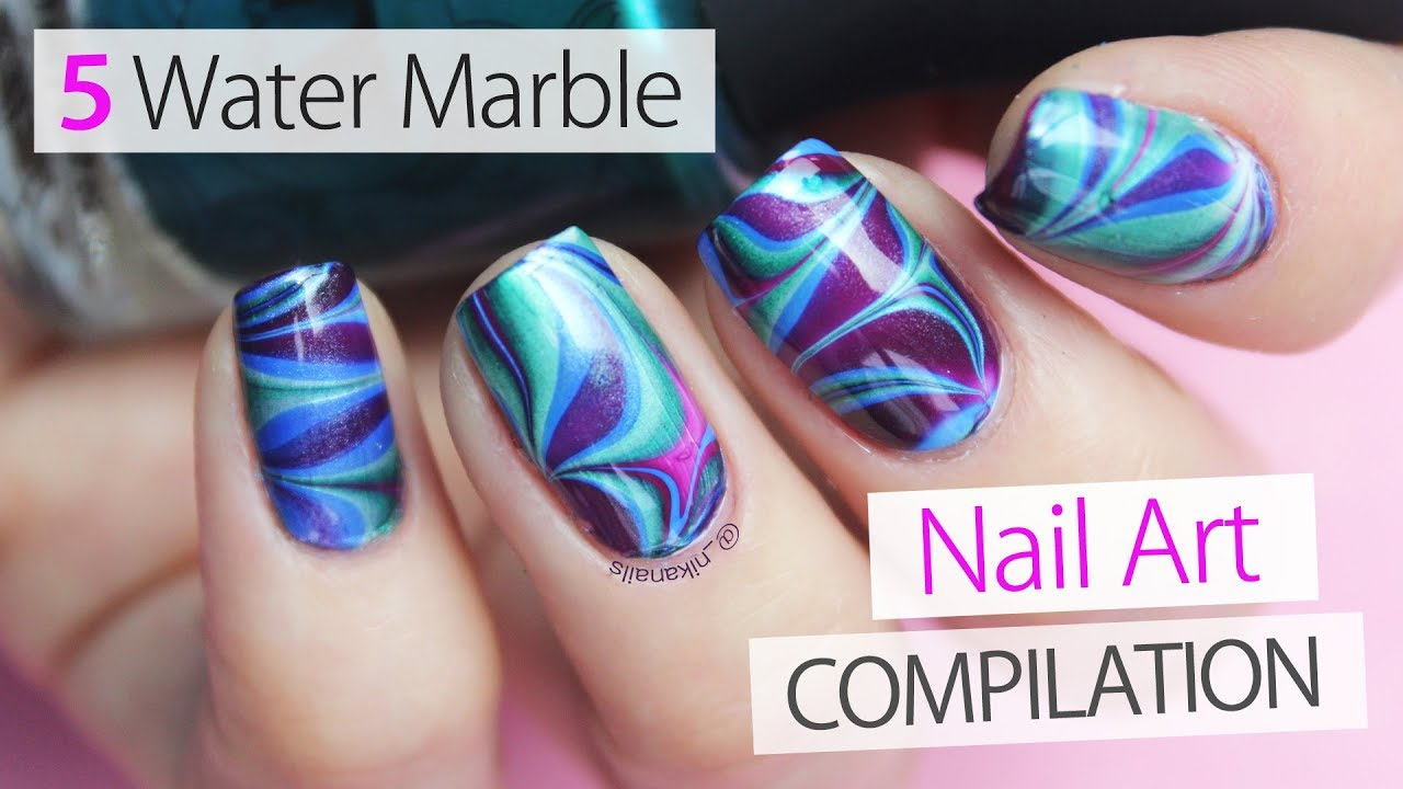 5 Easy Water Marble Nail Art Compilation 2018 Designs For Beginers