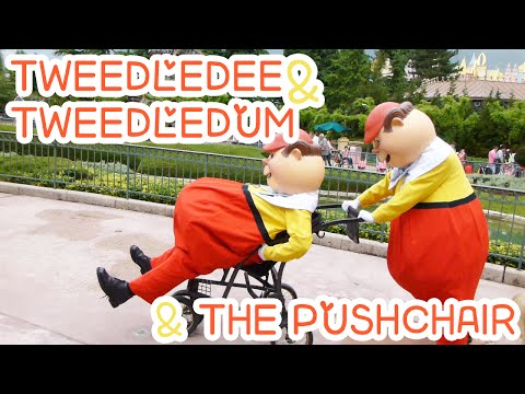 Tweedledum and Tweedledee Playing Around With A Pushchair Disneyland Paris June 2013