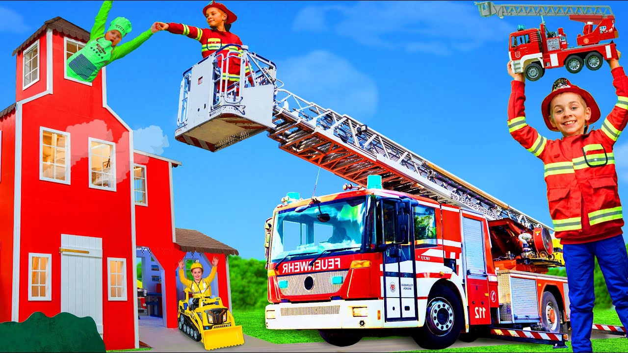 Kids Pretend Play with a Real Fire Truck to Learn Safety Rules