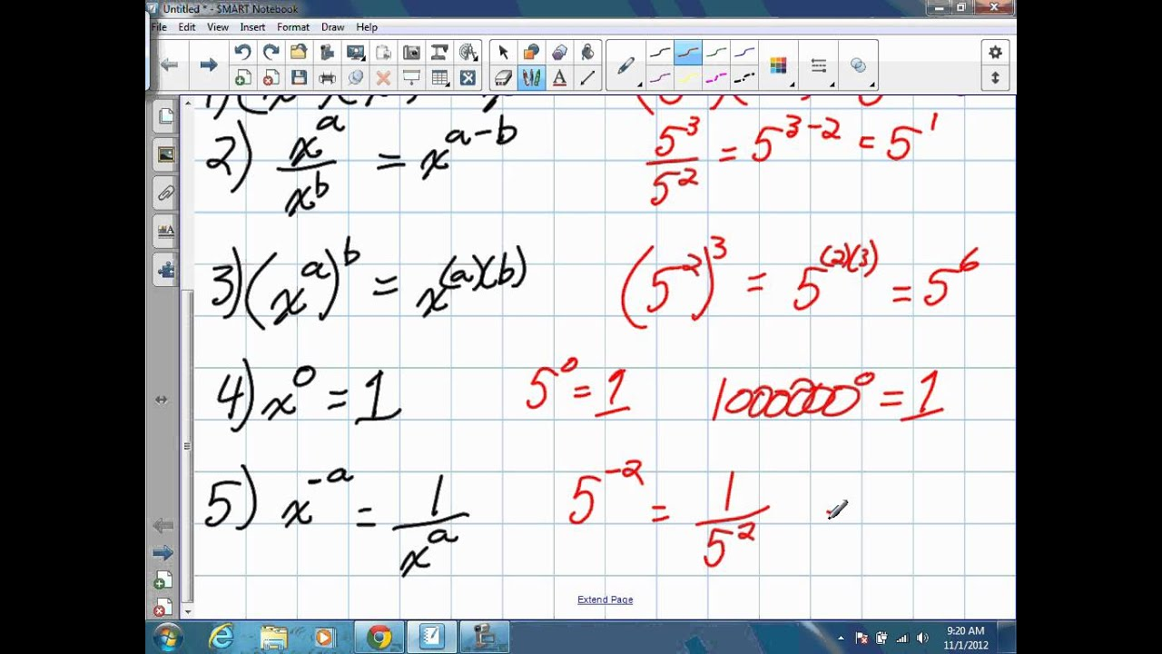 hight resolution of How to work with Negative and Zero Exponents (Grade 10 Academic) - YouTube