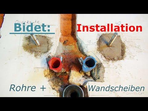 Bidet: Installation Rohre Wandscheiben