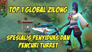 SkyWee Top 1 Global Zilong Spesialis Lari dan curi Turret - Pro Player Zilong Mobile Legends