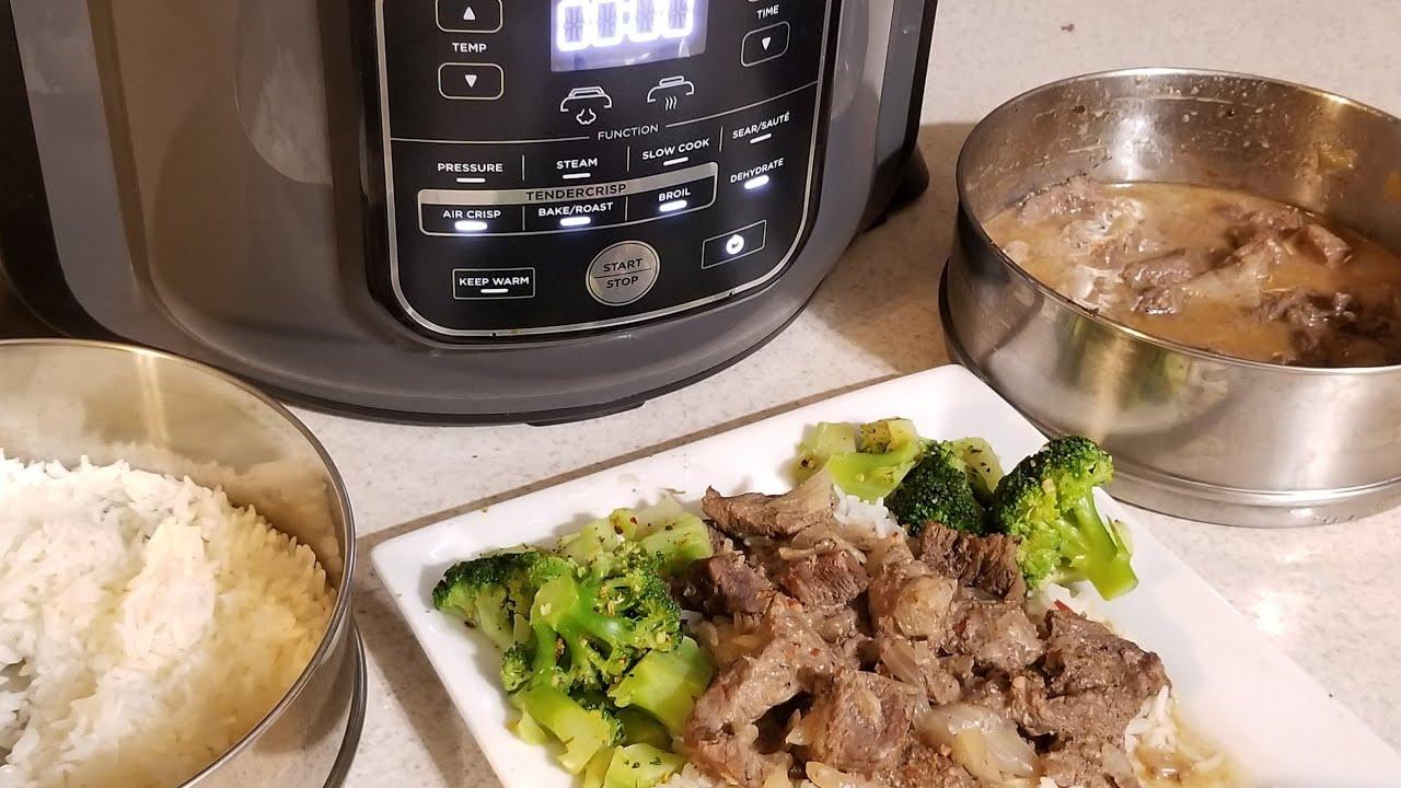Ninja Foodi Pot In Pot Beef Tips With Jasmine Rice Pressure Cooker Air Fryer Youtube