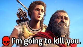 Teary-Eyed Kassandra Kills Leonidas, Her Grandfather (All Choices). AC Odyssey, Fate of Atlantis DLC