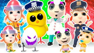 Pretend Play Policeman & Bad Thief 👮 Firefighter, Doctor 🚓 🚑 🚒 Hot vs Cold Pop it Challenge + Songs