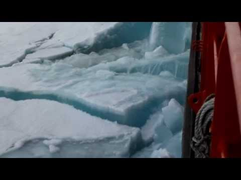 Incredible Nuclear-Powered Ice Breaker Ship in Action crusing toward center of North Pole