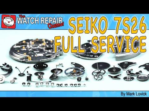 Seiko 7s26 full stripdown service and watch repair tutorial