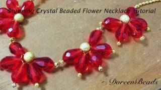 Doreenbeads Jewelry Making Tutorial - How to DIY Stunning Crystal Beaded Flower Necklace