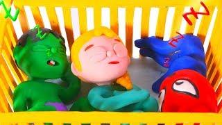 SUPERHERO BABIES SLEEP TOGETHER ❤ SUPERHERO PLAY DOH CARTOONS FOR KIDS