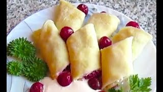Блинчики вкусняшка с творожно-вишневой начинкой