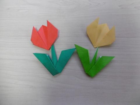 ハート 折り紙 折り紙 花 簡単 チューリップ : popmatx.com