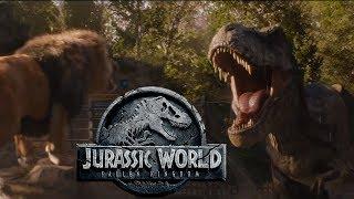 Rexy the Tyrannosaurus Roars at Lion! - Jurassic World Fallen Kingdom TV Spot Review!