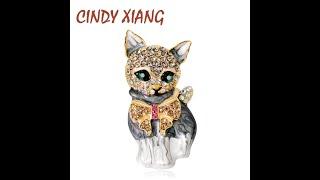 Cindy xiang эмалированные броши кошки для женщин модные стразы элегантная брошь в виде котенка