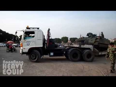 Hino SG260TI Dolly Trailer Transporting M113 Armored Personnel Carrier Tank