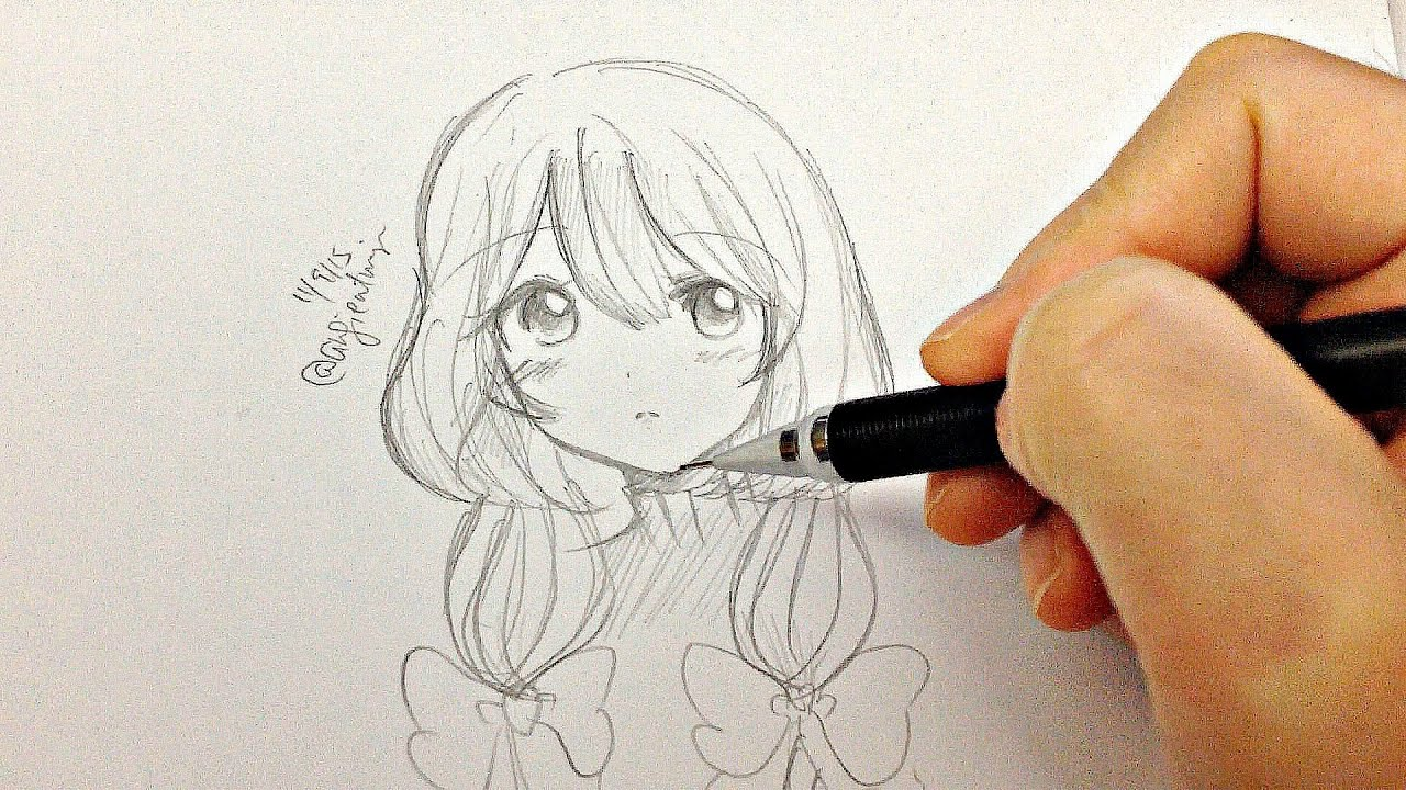 Draw a manga girl real time drawing