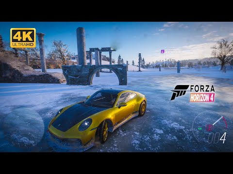 Ice Skating & Chasing Train with PORSCHE 911 Carrera S - forza horizon 4