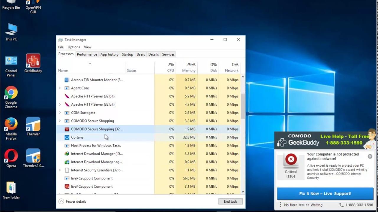 Uninstall Comodo Internet Security Complete 10 on Windows 10