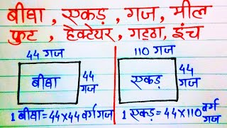 बीघा || एकड़ || हेक्टयर || ईंच || फुट || गज || jamin napane ka formula || Ayush Study Center