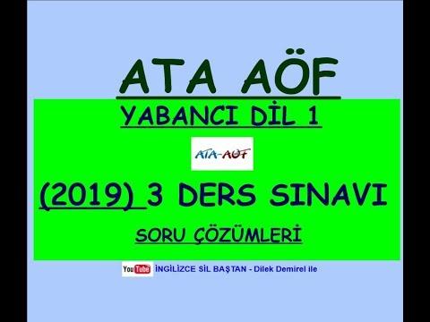 ATA AÖF İNGİLİZCE 1  2019 YILI 3 DERS SINAVI