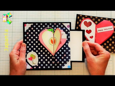 Waterfall card DIY - Opening Hearts -  NEW DESIGN!  Time 1:43 correct is 2 cm from top and bottom!