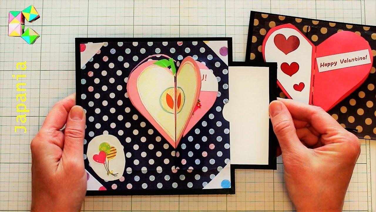Стихах февраля, движущиеся сердечки радужная открытка из бумаги