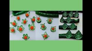 Các cách tỉa hoa từ dưa chuột trang trí món ăn