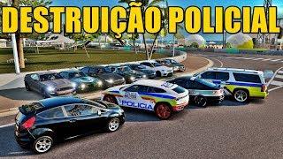DESTRUIÇÃO POLICIAL COM OS CARROS DA POLICIA DE MINAS GERAIS - FORZA HORIZON 3 - GAMEPLAY