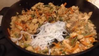 Рисовая лапша с курицей и овощами| По мотивам тайской кухни