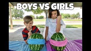 EXPLODING WATERMELONS CHALLENGE!!   BOYS VS GIRLS!
