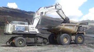 Awesome Excavator Transport Sleipner Liebherr R984 On CAT 777 Dump Truck
