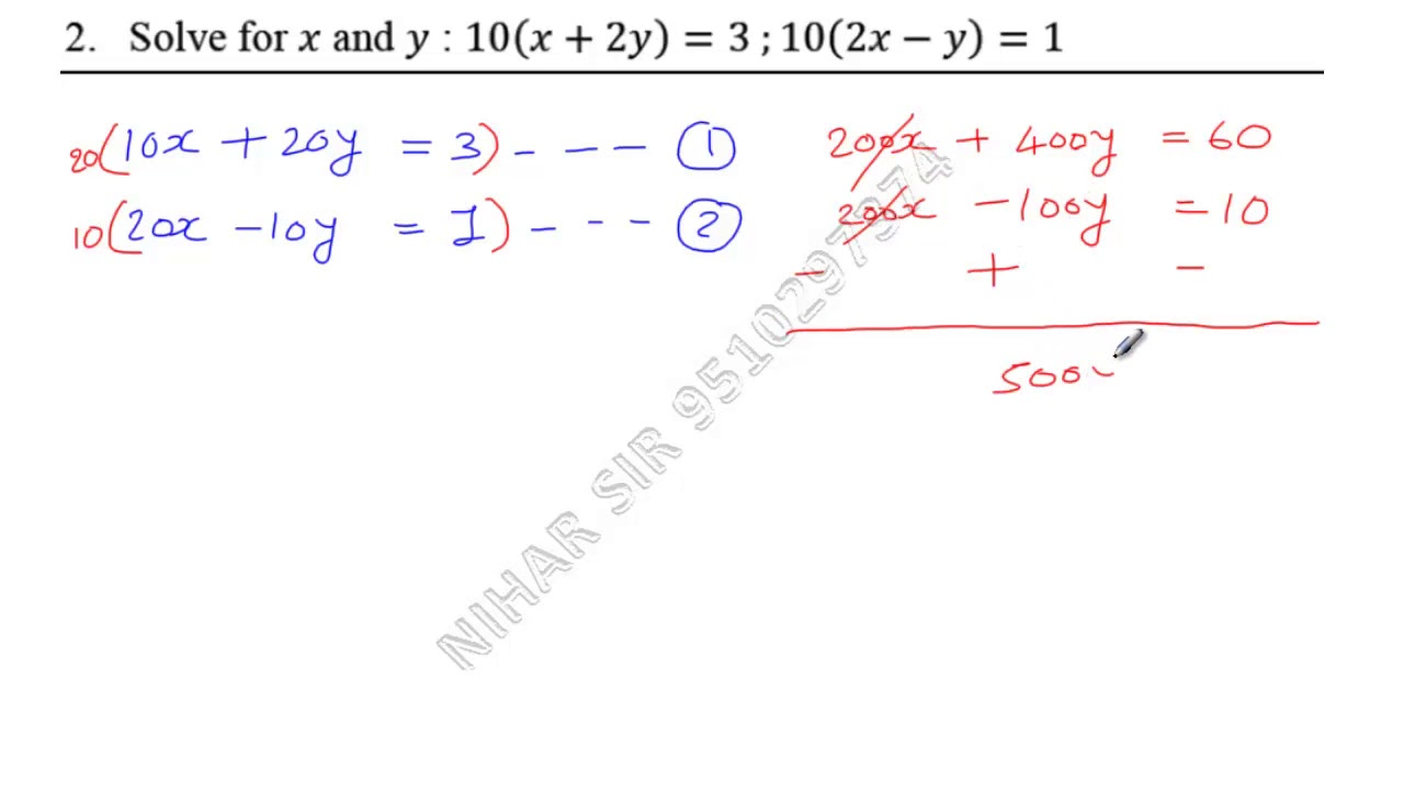 Solve For X And Y 10x2y3 102x Y1 Youtube