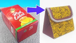 Paper Purse from Waste Tea Box - Easy Best out of Waste Craft Ideas - DIY Purse Making