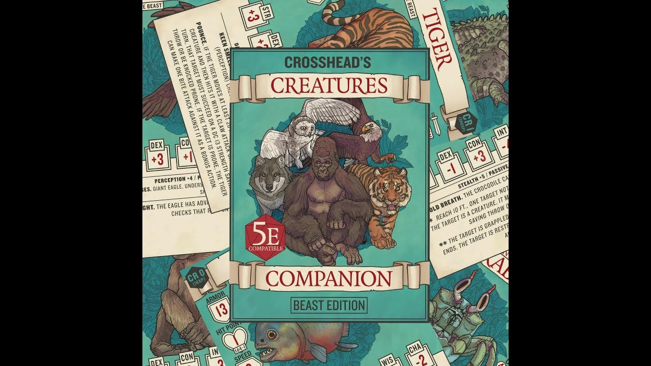 Crossheads Creature Companion Statcards For Dd 5e Youtube