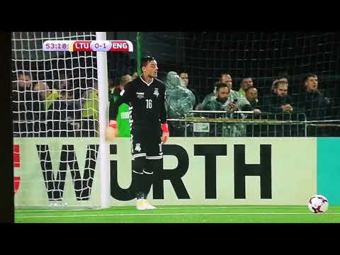 Lithuania goalkeeper walks into the goal post ~fail