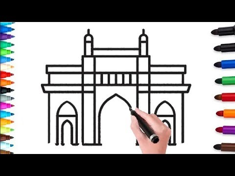 how to draw gateway of india